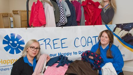 Happy Days staff Daniela Partridge, Donna Lawrence and Kellie Robinson-Avery with collected coats. P