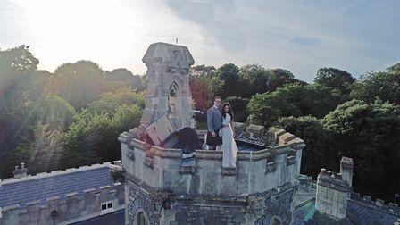 Harriet and Adam getting married at Uphill Manor.