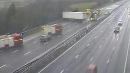 The accident has partly blocked the M5. Picture: Highways England