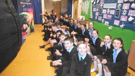 Space Odyssey visiting pupils at St Francis Primary School.