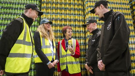 Minister of Skills, Anne Milton, visiting Thatchers Cider to learn about the apprenticeship scheme.
