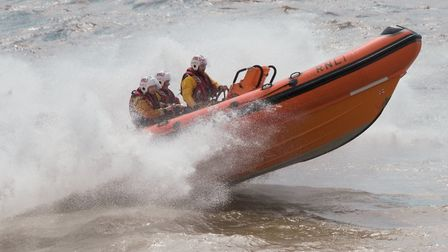 Weston RNLI's Atlantic Class lifeboat showing it's paces. Picture: MARK ATHERTON