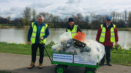 The Friends of Apex Park Improvements Group cleared up bags of litter on April 3.Picture: Sedgemoor
