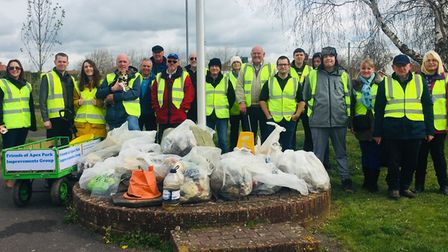 Community groups got together to clear-up Apex Park on April 3,Picture: Sedgemoor District Council