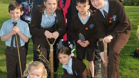 St Francis Primary School tree planting approx 200 woodland trees with the hlep of Jon Attwood from