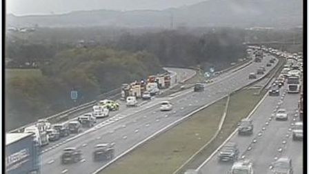 A vehcilce fire has brought the M5 to a standstill Picture: Highways England