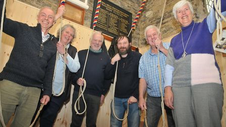 Bell ringers St Augustines Church in Locking, unveiling its church bells restoration project.Picture