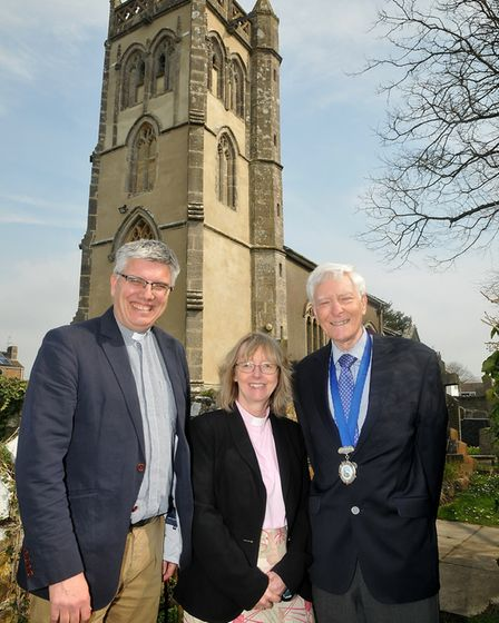 The Archdeacon of Bath with Rector of Locking and Hutton Anne Wilkins and councillor Mike Cooper.Pic