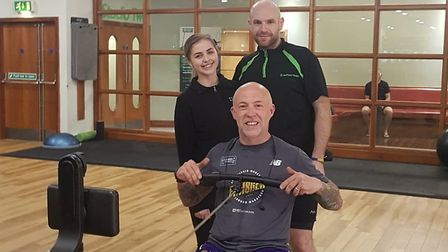 Graham Hunt rowing at Nuffield Health to raise money for Weston Hospicecare.
