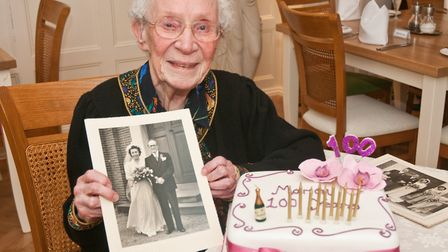 Marion Green celebrating her 100th birthday. Picture: MARK ATHERTON