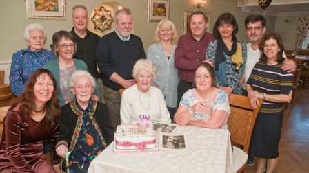 Marion Green celebrating her 100th birthday with friends & family. Picture: MARK ATHERTON