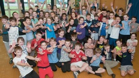St Francis Primary School pupils taking part in a Dance-athon for the Borderlands charity. Pictur