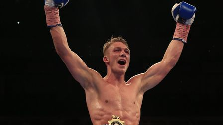 Nick Blackwell celebrates his victory over John Ryder in their British middleweight title fight at t