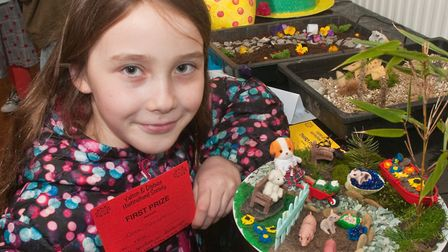 Cora Smart with her prize winning garden on a plate at Yatton Spring Show. Picture: MARK ATHERTON