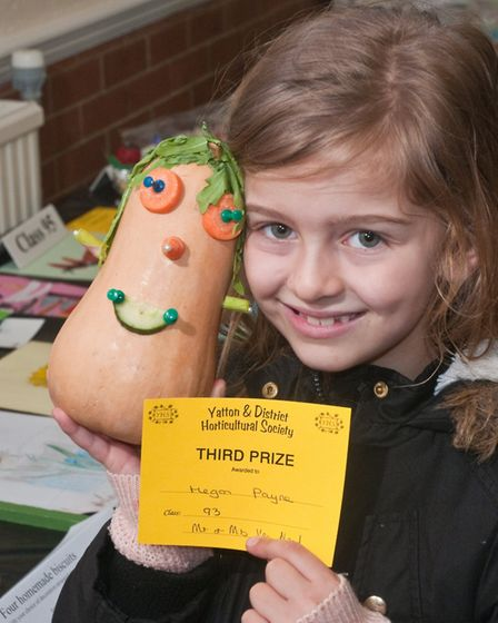 Yatton Spring Show, Megan Payne with her vegetable head. Picture: MARK ATHERTON