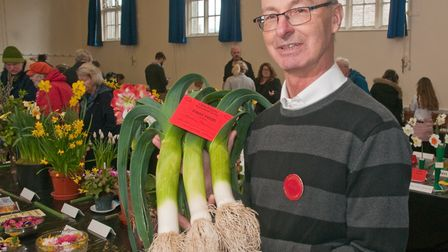 Stephen Thorne with his prize winning leeks at Yatton Spring Show. Picture: MARK ATHERTON