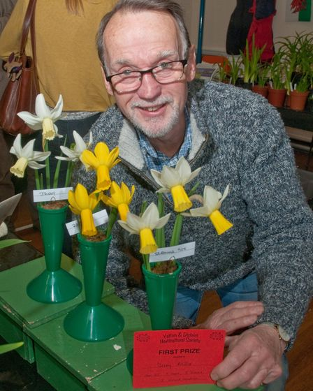 Jerry Miller who won a National Daffodil Society medal for this display at Yatton Spring Show. Pi