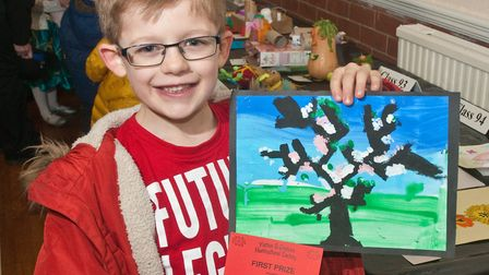 Oliver Baskerville with his prize winning painting at Yatton Spring Show. Picture: MARK ATHERTON
