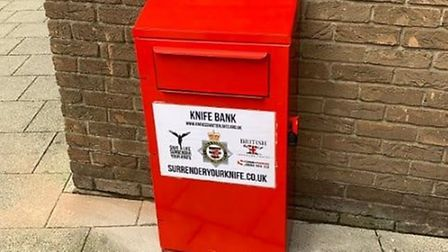 The new knife surrender bin at Weston's town hall. Picture: Avon and Somerset Constabulary