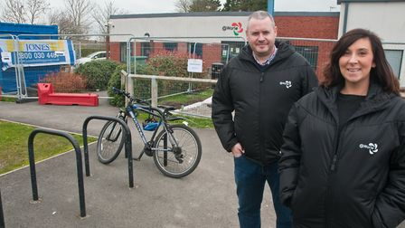 Chairman of trustees James White and assistant manager Candace Riley outside the the @ Worle site wh