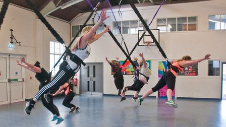 Launch of new bungee exercise classes by Sharon Routleff at Clevedon YMCA. Picture: MARK ATHERTON