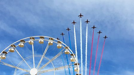 Rob Lewis said he was in the right place as the Red Arrows made their entrance into Weston yesterday