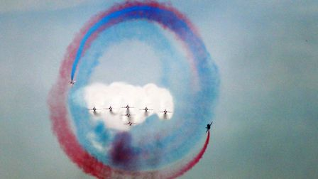 Some pictures I have taken at the Air day on Saturday and Sunday of the Red Arrows.