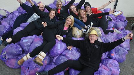 Slimming World at Weston Rugby Club holding its annual Big Slimming World Clothes Throw event.Pictur