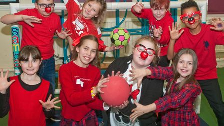 Children from Milton Park Primary School taking part in fundraising sports activities. Picture: M