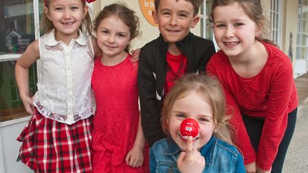 Milton Park Primary School children dressing in red for Red Nose Day. Picture: MARK ATHERTON