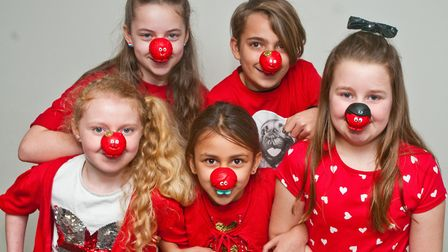 Hutton Primary School children dressing in red for Red Nose Day. Picture: MARK ATHERTON
