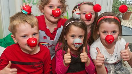 Court De Wyck Primary School children celebrating Red Nose Day. Picture: MARK ATHERTON