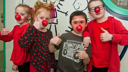 Bournville Primary School children dressing in red for Red Nose Day. Picture: MARK ATHERTON