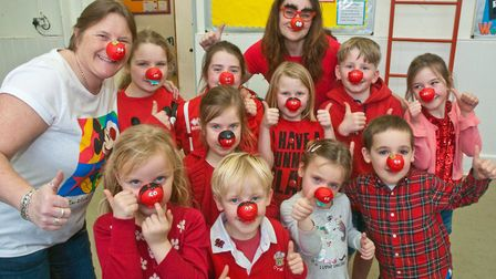 Wrington Primary School pupils dressed up for Red Nose Day. Picture: MARK ATHERTON