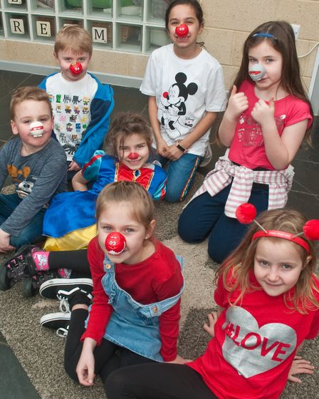 Worlebury Primary School children dressing up for Red Nose Day.Picture: MARK ATHERTON