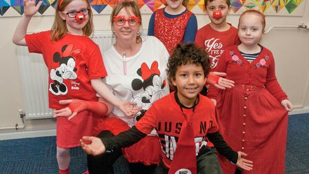 Windwhistle Primary School children dressing up for Red Nose Day.Picture: MARK ATHERTON