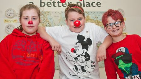 Uphill Primary School children dressing in red for Red Nose Day. Picture: MARK ATHERTON