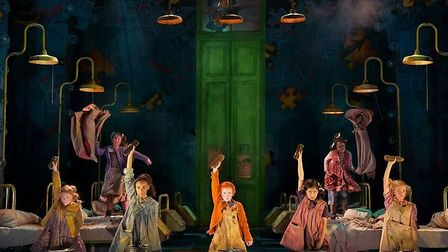 The cast of Annie which is playing at the Bristol Hippodrome.