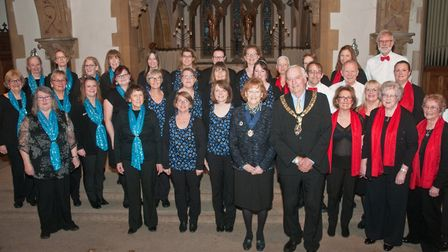 Burnham and Highbridge Mayor and Mayoress with representatives from three competing choirs. Pic