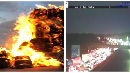 A trailer catching fire caused 'choas' on the M5 between Weston-super-Mare and Clevedon.