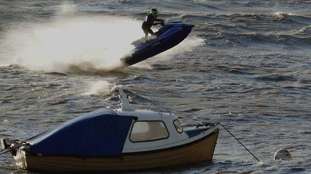 High winds lifting jet-skis out the water in Weston-super-Mare