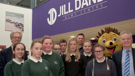 Sir Jeffrey Archer and Nigel Dando with students at the opening of the Jill Dando Centre at Priory C