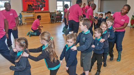 The Za Foundation visiting Worlebury Primary School with a dance group from Zakhele for workshops on
