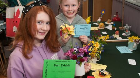 Sisters Lauren and Chloe Chetland with some of their prize winning exhibits at Congresbury Gardening