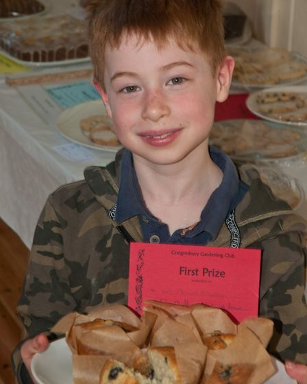 Thomas Brumby won a first for his muffins at Congresbury Gardening Club Spring show. Picture: MARK