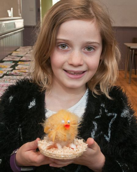 Martha Smith won a prize for her decorated egg at Congresbury Gardening Club Spring show. Picture: