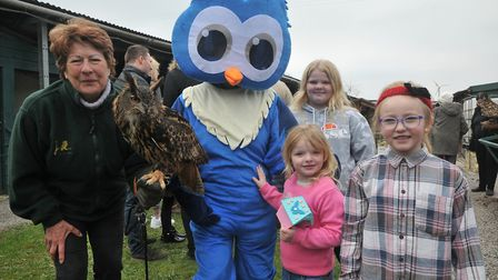 The new mascot Ollie the owl with Tango the European Eagle Owl. Picture: Jeremy Long