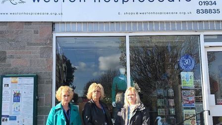 Weston Hospicecare's retail director Gemma Turner (left), area manager Lisa Johns (centre) and shop