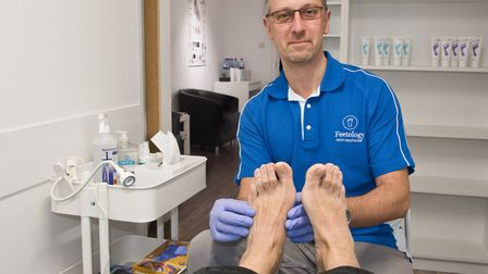 Paul Hill at his new chiropody clinic Footology, Box Bush Farm, Summer Lane, West Wick. Picture
