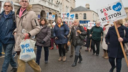Protest by Save Weston A&E, outside the CCG meeting being held at the Royal Hotel, back in February.